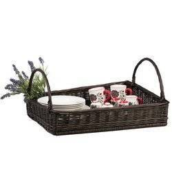 WICKER RECTANGULAR TRAY WITH HANDLES LINED dark painted decorative 60X50 H12 CM