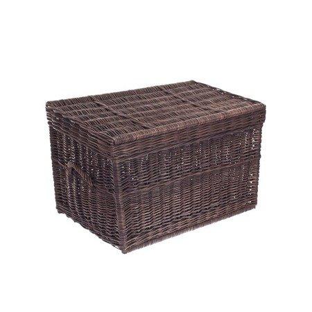 Brown wicker storage basket