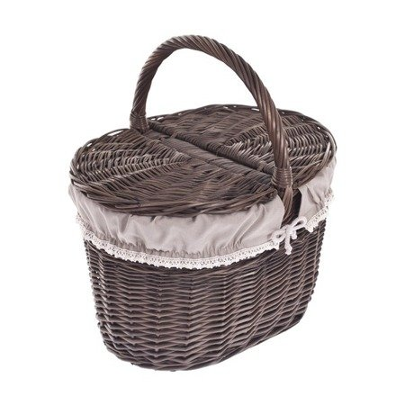 Shabby chic wicker picnic basket with pretty lining