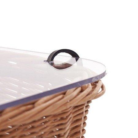 Wicker kitchen storage basket with plexi lid
