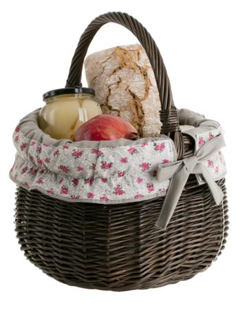 Geflochten Einkaufskorb aus Weide, Weidenkorb in wengegrau mit Bügel und Besatz