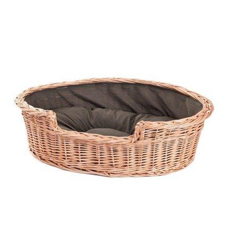Hundekorb aus Weide, oval mit einem Kissen