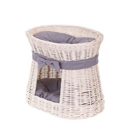 Ovale Katzenhütte in Beige / Katzenkorb aus Weide / Katzenturm