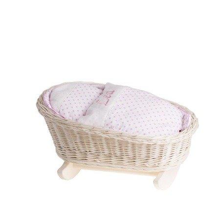 Łóżeczko wiklinowe dla lalek białe z imieniem