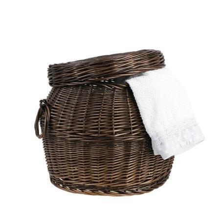 Okrągły pojemnik wiklinowy na zabawki / mały koszyczek na pranie